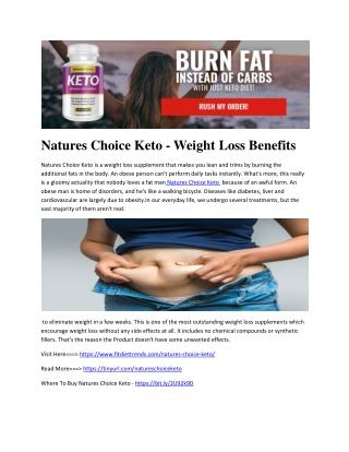 Natures Choice Keto - Weight Loss Benefits