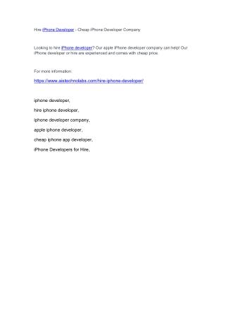 Hire iPhone Developer - Cheap iPhone Developer Company
