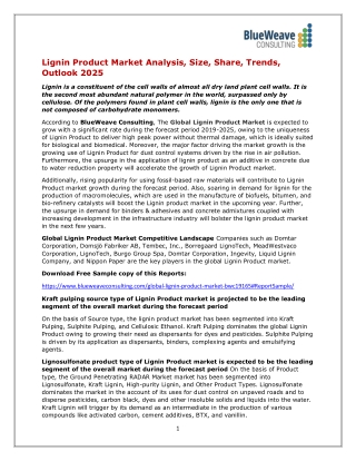 Global Lignin Product Market Insights and Forecast to 2025