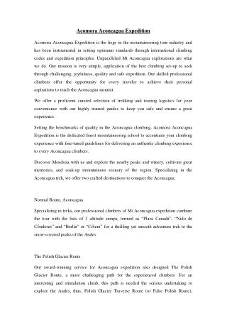 ACOMARA ACONCAGUA EXPEDITIONS