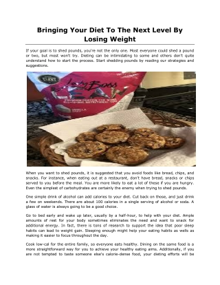 Bringing Your Diet To The Next Level By Losing Weight