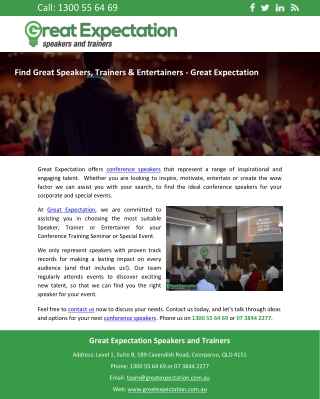 Find Great Speakers, Trainers & Entertainers - Great Expectation