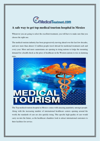 A safe way to get top medical tourism hospital in Mexico