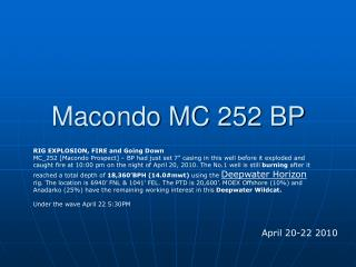 Macondo MC 252 BP