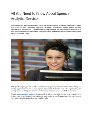 All You Need to Know About Speech Analytics Services