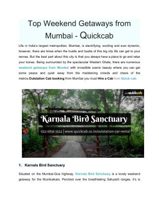 Top Weekend Getaways from Mumbai - Quickcab