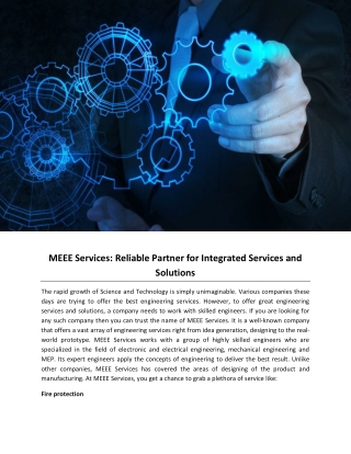 MEEE Services: Reliable Partner for Integrated Services and Solutions