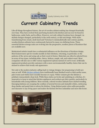 Current Cabinetry Trends
