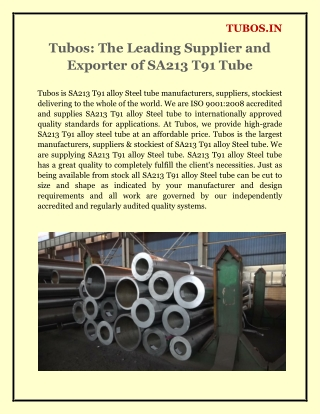 Tubos: The Leading Supplier and Exporter of SA213 T91 Tube
