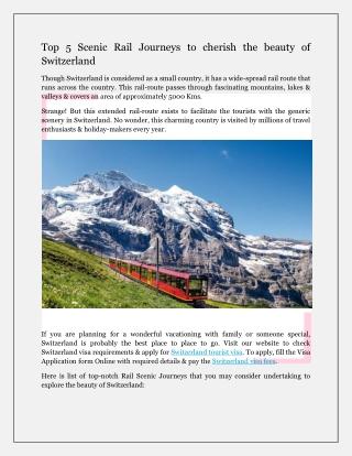 Top 5 Scenic Rail Journeys to cherish the beauty of Switzerland
