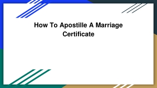 How To Apostille A Marriage Certificate