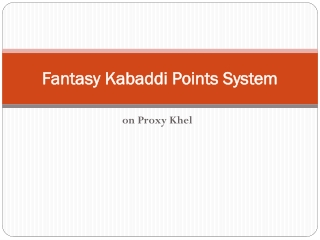 Fantasy Kabaddi Points System