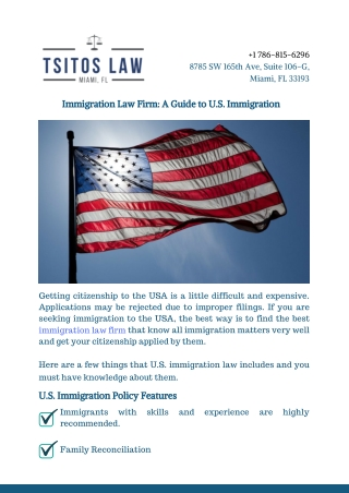 Immigration Law Firm: A Guide to U.S. Immigration