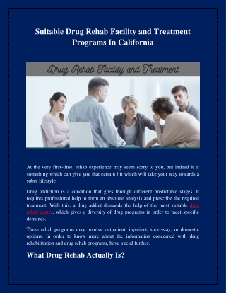 Suitable Drug Rehab Facility and Treatment Programs In California