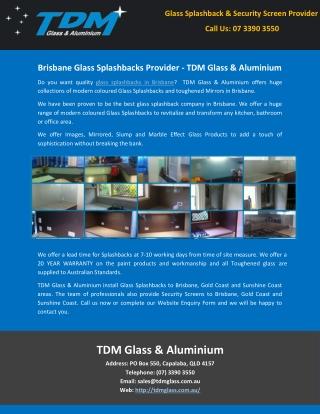 Brisbane Glass Splashbacks Provider - TDM Glass & Aluminium