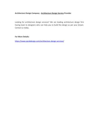 Architecture Design Company - Architecture Design Service Provider