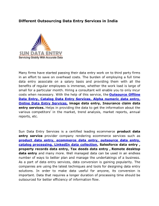 Different Outsourcing Data Entry Services in India
