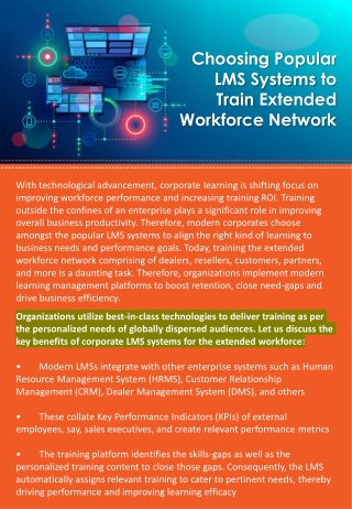 Choosing Popular LMS Systems to Train Extended Workforce Network