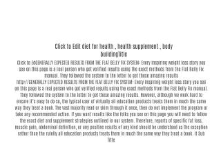 diet for health , health supplement , body building