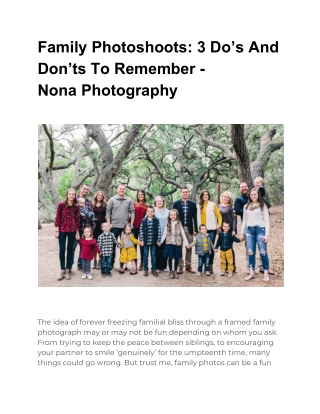 Family Photoshoots: 3 Do's And Don'ts To Remember - Nona Photography