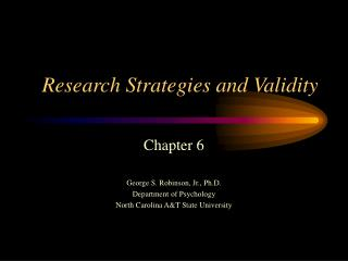 Research Strategies and Validity