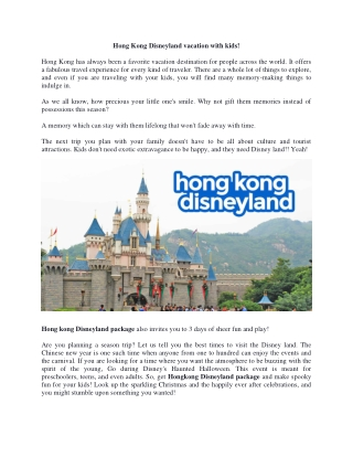Hong Kong Disneyland vacation with kids!