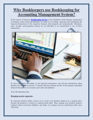 Why Bookkeepers use Bookkeeping for Accounting Management System?