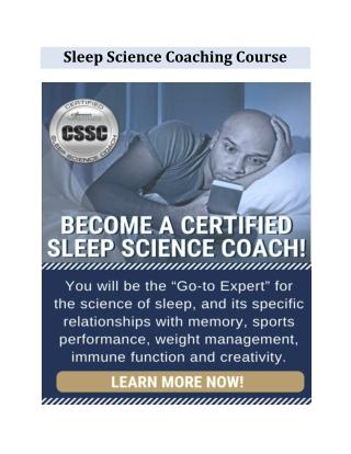 Sleep Science Coaching Course