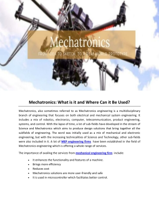 Mechatronics: What is it and Where Can it Be Used?