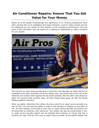 Air Conditioner Repairs: Ensure That You Get Value for Your Money
