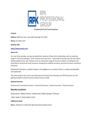Commercial Car & Truck Insurance