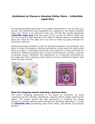 Guidelines to Choose a Genuine Online Store – Collectible Lapel Pins