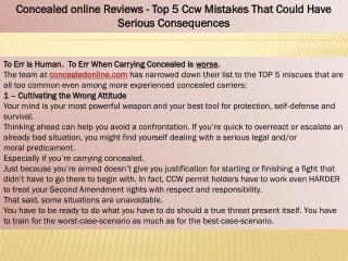 Concealedonline Reviews - Top 5 Ccw Mistakes That Could Have Serious Consequences