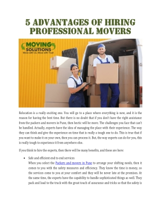 5 advantages of hiring professional movers