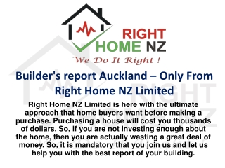 Builder's report Auckland – Only From Right Home NZ Limited