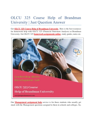 OLCU 325 Course Help of Brandman University | Just Question Answer