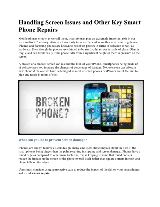 Handling screen issues and other key smart phone repairs