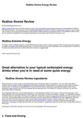 Redline Xtreme Energy Review