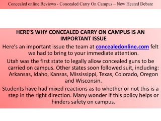 Concealed online Reviews - Concealed Carry On Campus – New Heated Debate