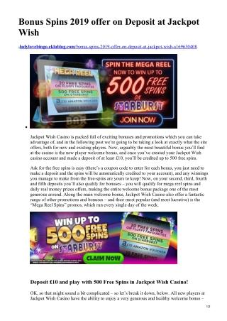 Bonus Spins 2019 offer on Deposit at Jackpot Wish