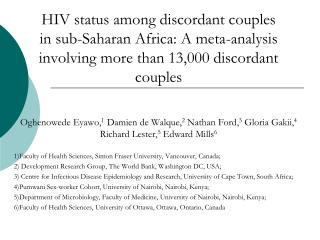 HIV status among discordant couples in sub-Saharan Africa: A meta-analysis involving more than 13,000 discordant couples
