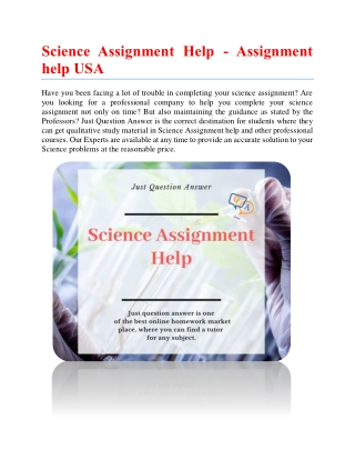 Science Assignment Help - Assignment help USA