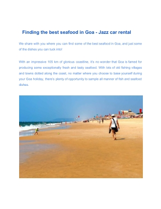 Finding the best seafood in Goa - Jazz car rental
