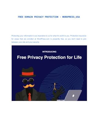 FREE DOMAIN PRIVACY PROTECTION - WORDPRESS_USA