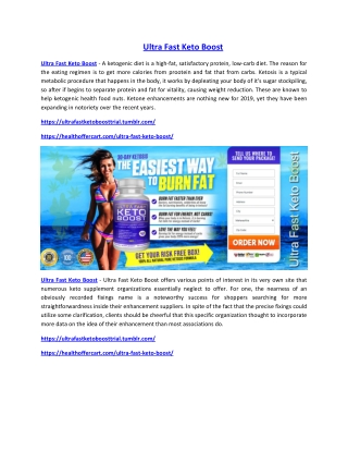 Ultra Fast Keto Boost : Weight Loss Pills, Exclusive Reviews, Price !