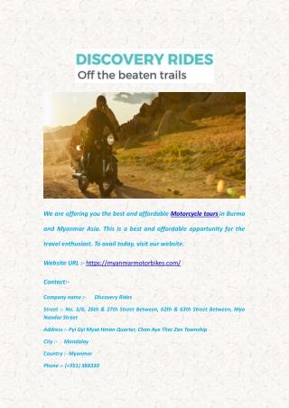 Motorcycle Tours - Myanmarmotorbikes.com