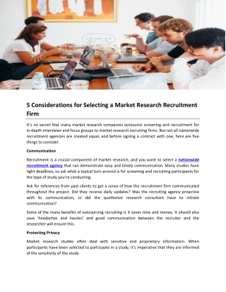 5 Considerations for Selecting a Market Research Recruitment Firm