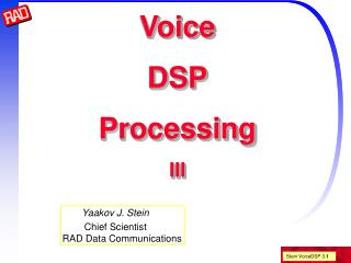 Voice DSP Processing III