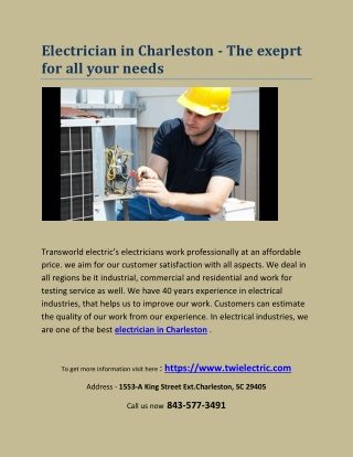Electrician in Charleston - The exeprt for all your needs