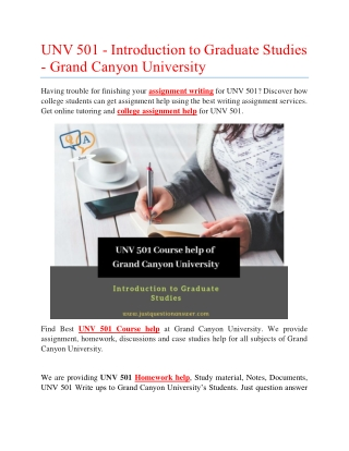 UNV 501 Course help of Grand Canyon University
